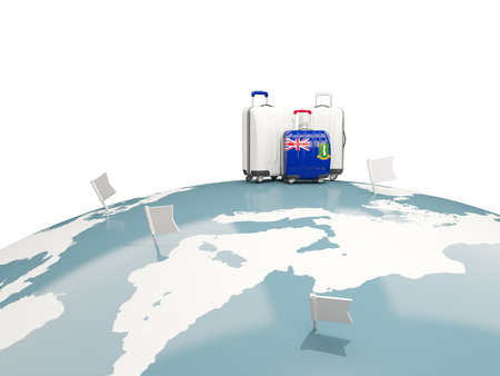 virgin islands: Luggage with flag of virgin islands british. Three bags on top of globe. 3D illustration