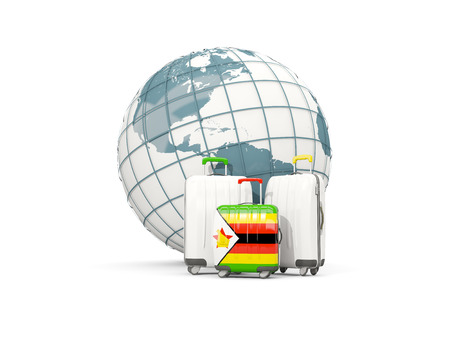 Luggage with flag of zimbabwe. Three bags in front of globe. 3D illustration