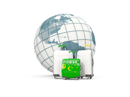 Luggage with flag of cocos islands. Three bags in front of globe. 3D illustration