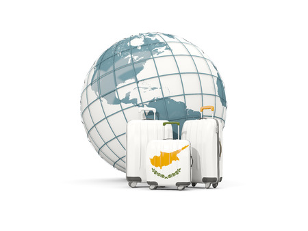 Luggage with flag of cyprus. Three bags in front of globe. 3D illustration
