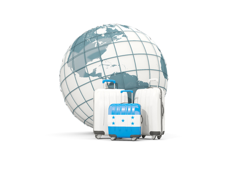 bandera honduras: Luggage with flag of honduras. Three bags in front of globe. 3D illustration