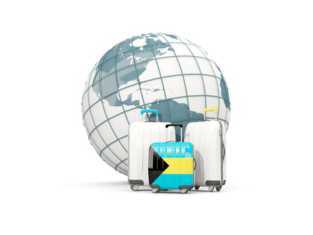 Luggage with flag of bahamas. Three bags in front of globe. 3D illustration