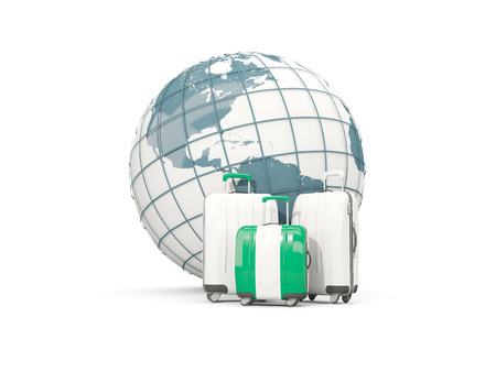 country nigeria: Luggage with flag of nigeria. Three bags in front of globe. 3D illustration