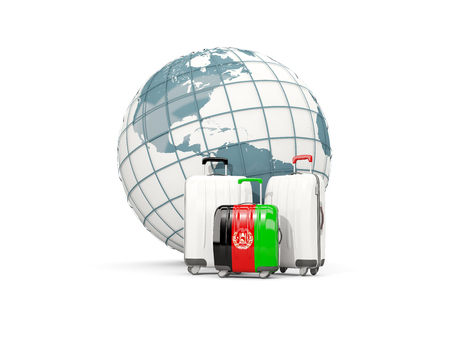 Luggage with flag of afghanistan. Three bags in front of globe. 3D illustration
