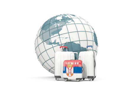 Luggage with flag of serbia. Three bags in front of globe. 3D illustration