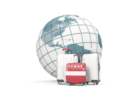 Luggage with flag of latvia. Three bags in front of globe. 3D illustration