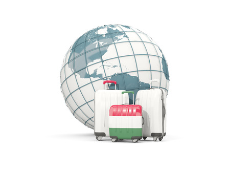 Luggage with flag of hungary. Three bags in front of globe. 3D illustration