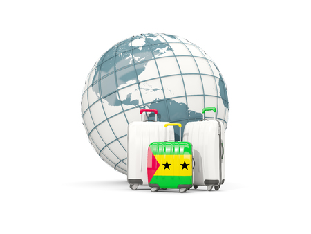 Luggage with flag of sao tome and principe. Three bags in front of globe. 3D illustration