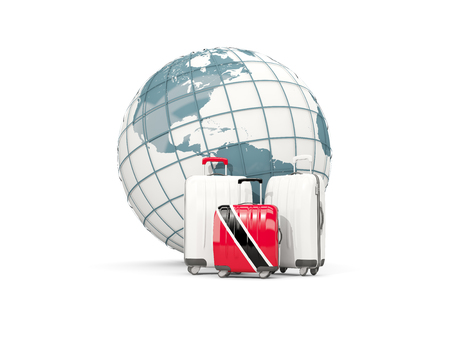 Luggage with flag of trinidad and tobago. Three bags in front of globe. 3D illustration