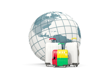 Luggage with flag of guinea bissau. Three bags in front of globe. 3D illustration