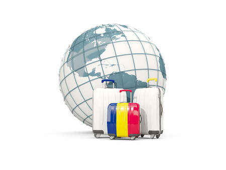 Luggage with flag of chad. Three bags in front of globe. 3D illustration Stock Photo