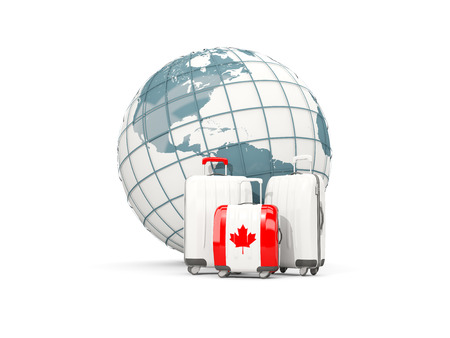 Luggage with flag of canada. Three bags in front of globe. 3D illustration 版權商用圖片