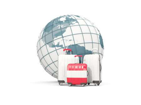 austria flag: Luggage with flag of austria. Three bags in front of globe. 3D illustration