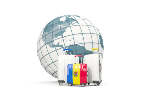 Luggage with flag of moldova. Three bags in front of globe. 3D illustration