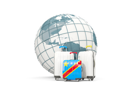 Luggage with flag of democratic republic of the congo. Three bags in front of globe. 3D illustration