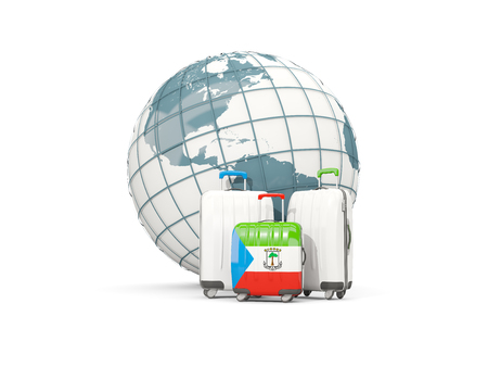 Luggage with flag of equatorial guinea. Three bags in front of globe. 3D illustration