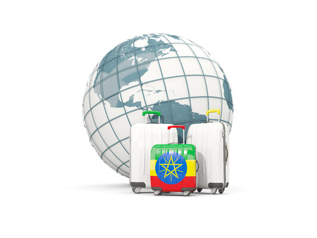 national flag ethiopia: Luggage with flag of ethiopia. Three bags in front of globe. 3D illustration