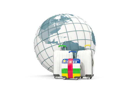 Luggage with flag of central african republic. Three bags in front of globe. 3D illustration
