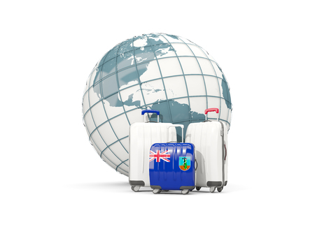 Luggage with flag of montserrat. Three bags in front of globe. 3D illustration Stock Photo