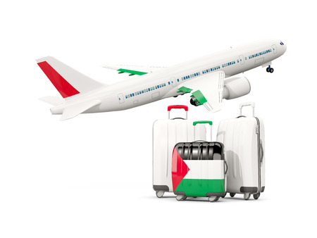 Luggage with flag of palestinian territory. Three bags with airplane isolated on white. 3D illustration