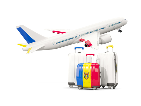 Luggage with flag of moldova. Three bags with airplane isolated on white. 3D illustration