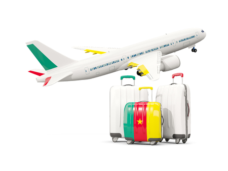 Luggage with flag of cameroon. Three bags with airplane isolated on white. 3D illustration