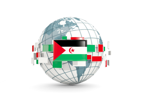 Globe with flag of western sahara isolated on white. 3D illustration