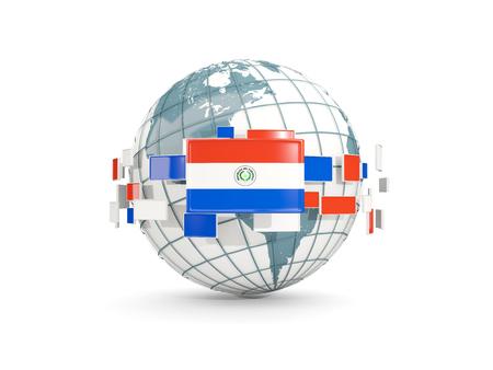 bandera de paraguay: Globo con la bandera de Paraguay aislado en blanco. Ilustración 3D Foto de archivo