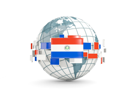 Globe with flag of paraguay isolated on white. 3D illustration