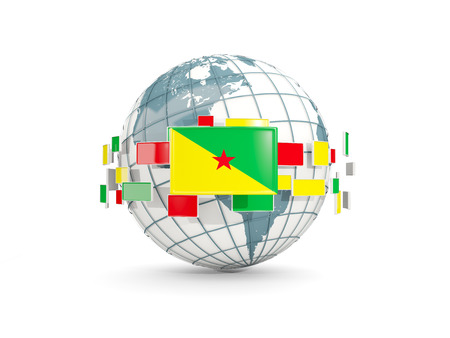 Globe with flag of french guiana isolated on white. 3D illustration