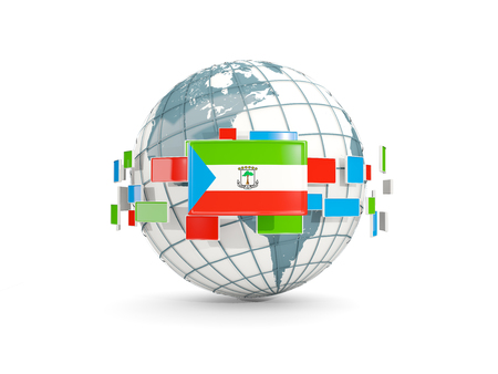 Globe with flag of equatorial guinea isolated on white. 3D illustration Stock Photo