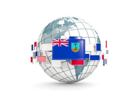 Globe with flag of montserrat isolated on white. 3D illustration Stock Photo