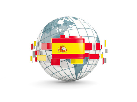 Globe with flag of spain isolated on white. 3D illustration Stock Photo