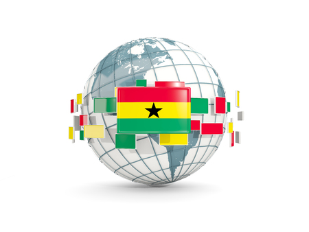 Globe with flag of ghana isolated on white. 3D illustration Stock Photo
