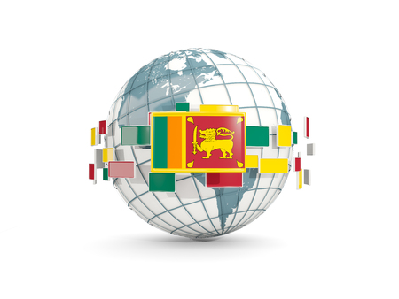 Globe with flag of sri lanka isolated on white. 3D illustration Stock Photo