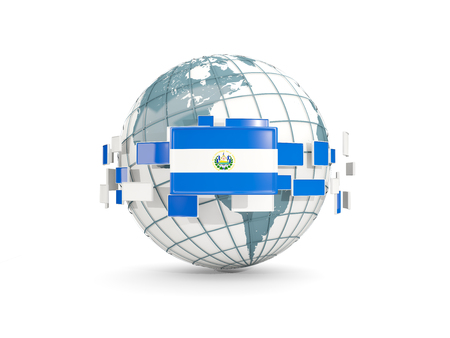 Globe with flag of el salvador isolated on white. 3D illustration