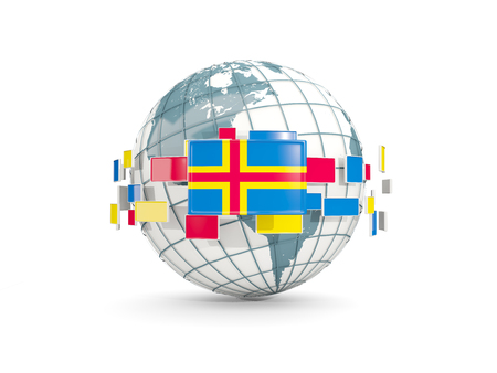 Globe with flag of aland islands isolated on white. 3D illustration