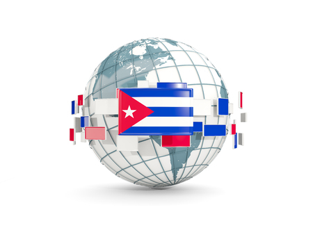 Globe with flag of cuba isolated on white. 3D illustration Foto de archivo