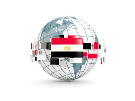 bandera de egipto: Globo con la bandera de Egipto aislado en blanco. Ilustración 3D
