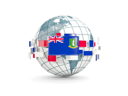 Globe with flag of virgin islands british isolated on white. 3D illustration Stock Photo