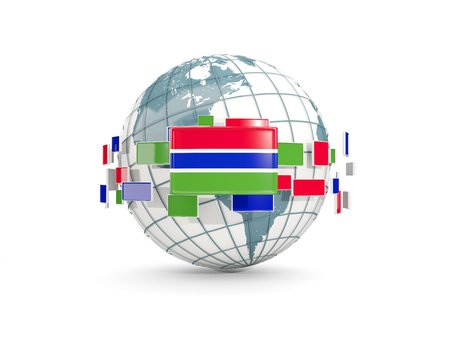 gambia: Globe with flag of gambia isolated on white. 3D illustration