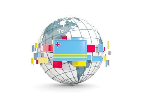 aruba: Globe with flag of aruba isolated on white. 3D illustration Stock Photo