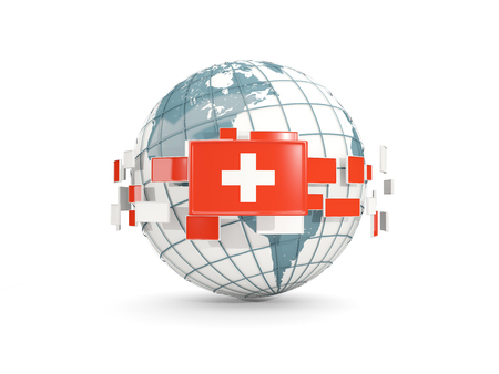 Globe with flag of switzerland isolated on white. 3D illustration