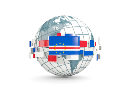 Globe with flag of cape verde isolated on white. 3D illustration