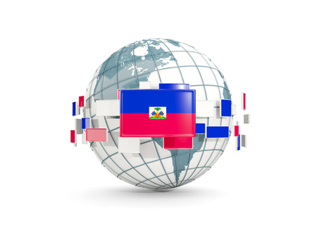 Globe with flag of haiti isolated on white. 3D illustration