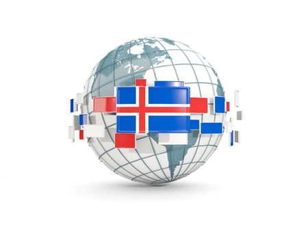 Globe with flag of iceland isolated on white. 3D illustration