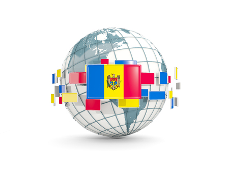 Globe with flag of moldova isolated on white. 3D illustration