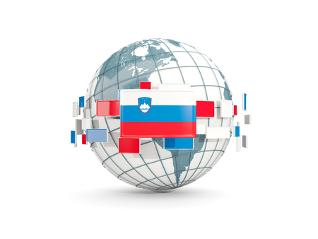 Globe with flag of slovenia isolated on white. 3D illustration