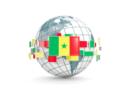 Globe with flag of senegal isolated on white. 3D illustration Stock Photo