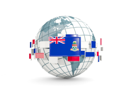 Globe with flag of cayman islands isolated on white. 3D illustration